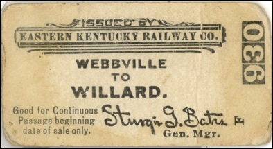 Ticket for the Eastern Kentucky Railway